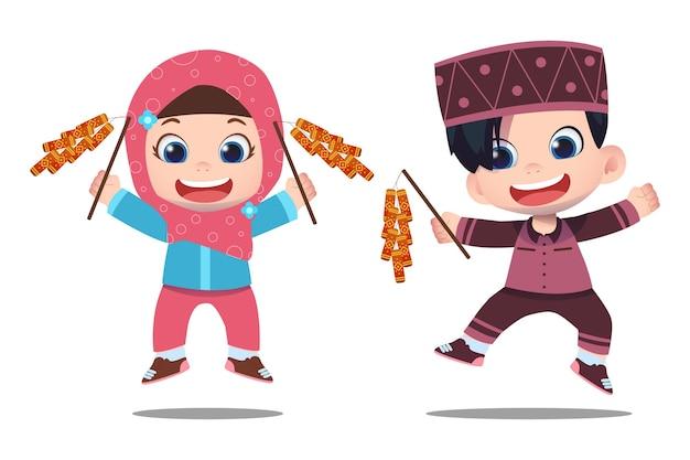 귀여운 캐릭터와 ramadhan 디자인 일러스트