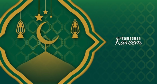 Ramadhan kareem background with lanterns and the mosque