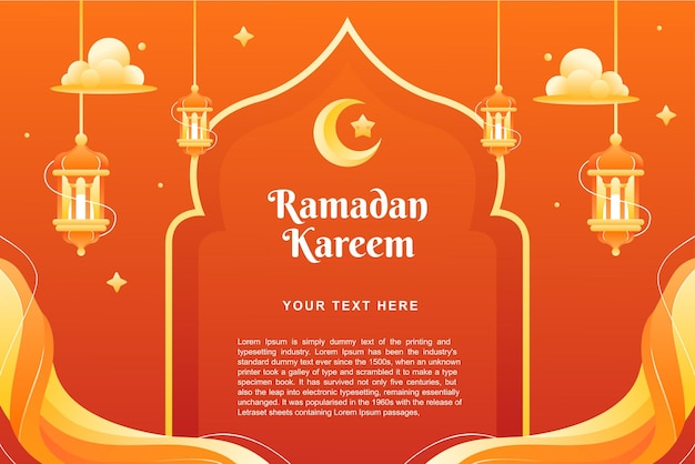 Ramadhan 카림 테마 배경 및 배너 템플릿 디자인