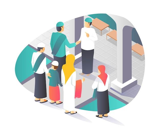 Ramadhan karim is shaking hands before tarawih or eid prayer