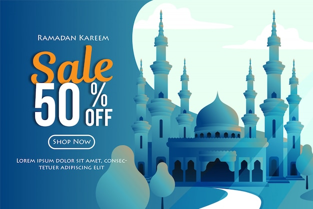 Ramadhan sales banners with mosque illustration