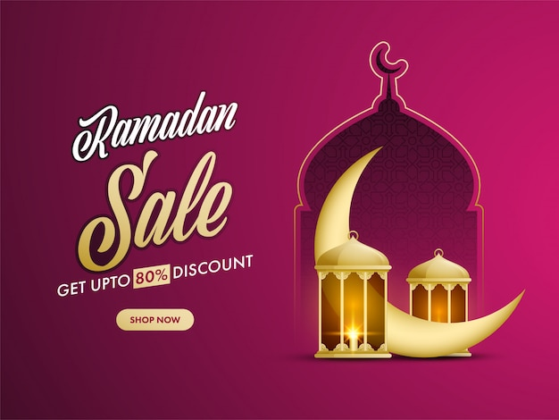Ramdan  concept with illustration of golden crescent moon, lanterns, mosque on fuchsia color background.
