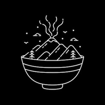 ラーメン丼と火山