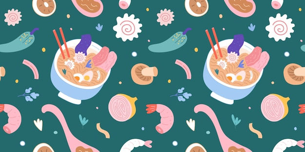 Ramen bowl background,seamless pattern