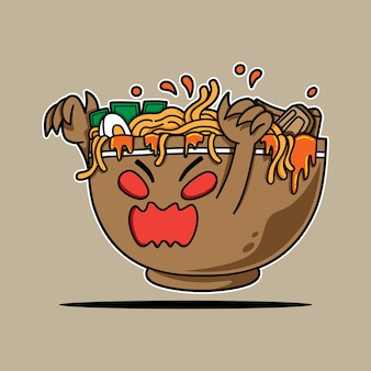 Ramen bowl monster character for the scary event
