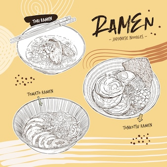 Ramen collection, hand draw sketch vector.