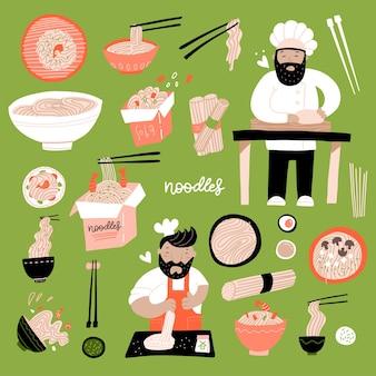 라면 낙서는 요리사 수석 벡터 플라이가 있는 중국 계란 국수 아시아 음식의 다양한 손으로 그린 그릇을 설정합니다.