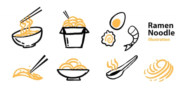 Ramen icon set for mascot