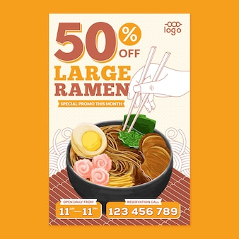 Ramen japanese food poster in flat design style