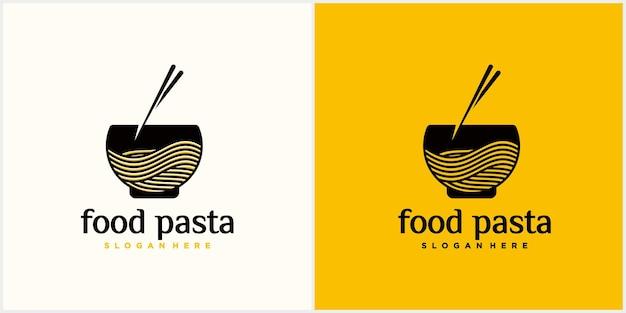 ファーストフード店のラーメンロゴ名刺付き韓国料理日本食ロゴ