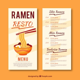Ramen menu template in flat design