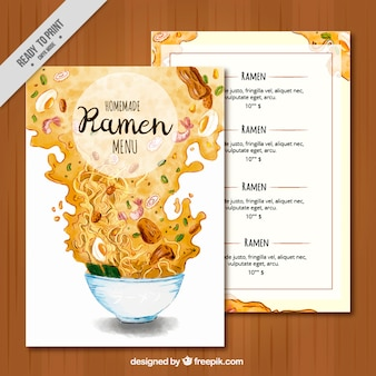 Ramen menu watercolor brochure