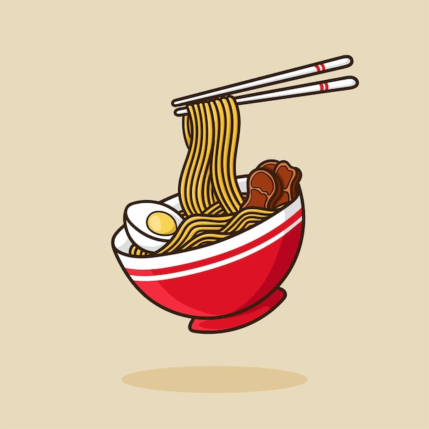 Ramen noodle bowl egg and meat with chopstick vector cartoon