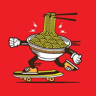 Ramen noodle bowl скейтбординг дизайн персонажей