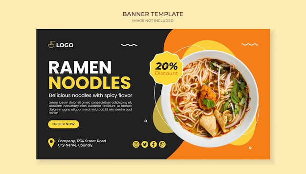 Ramen noodle food banner template