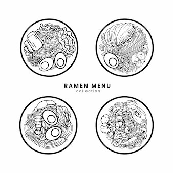 Ramen noodle set on illustration