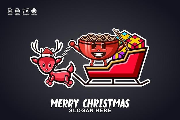 Ramen noodle sleigh ride merry christmas cute mascot character logo design
