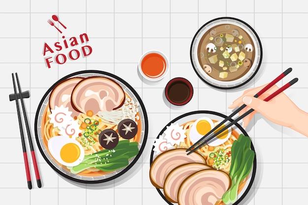 Ramen noodle, traditional asian noodle soup, illustration