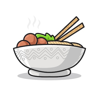 Ramen noodle with egg and vegetable on the bowl in cute line art illustration