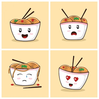 Ramen noodles cute cartoon with emotions