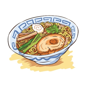 Ramen noodles illustration vector japanese