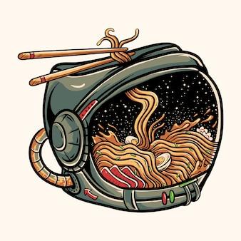 Ramen noodles inside astronaut helmet