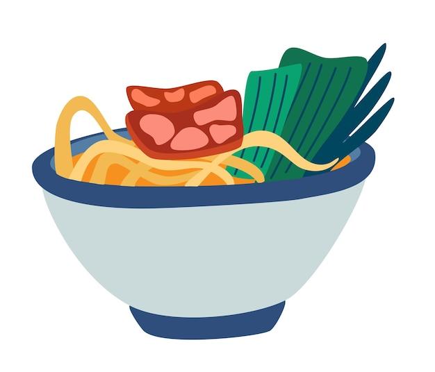 ラーメンスープ。アジアと日本の伝統的な食べ物。中華チキンまたはビーフヌードル