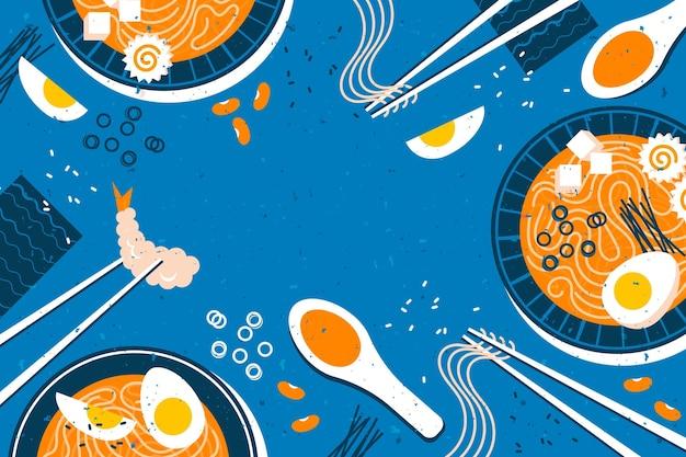 青色の背景にラーメンスープ