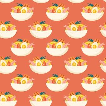 Ramen soup with yellow noodles shrimp bacon egg tomato lemongrass seamless pattern