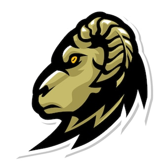 숫양 염소 머리 마스코트 로고 디자인