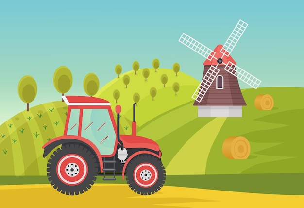 近代的な農業用トラクターの田園地帯の農学を備えた牧場農業夏の緑の野原