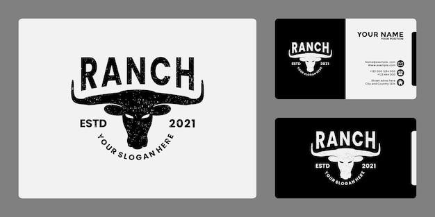 牧場と農場のロゴデザインバッジヴィンテージ