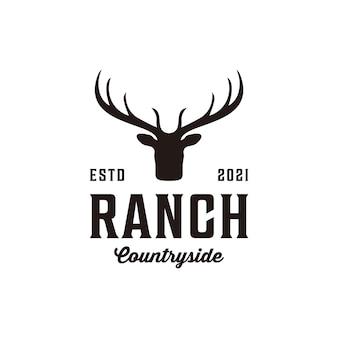 Ranch vintage retro silhouette deer logo design