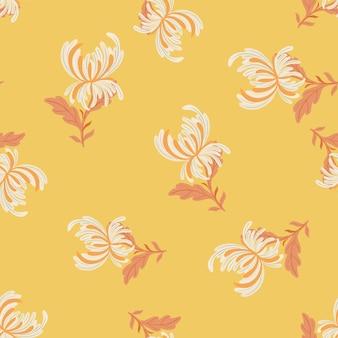 落書き菊の花の形をしたランダムな抽象的な花のシームレスなパターン。オレンジ色の背景。テキスタイル、ファブリック、ギフトラップ、壁紙のフラットベクタープリント。無限のイラスト。