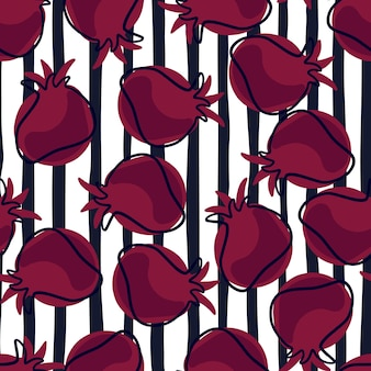 Random abstract seamless pattern with dark pink contoured pomegranate shapes