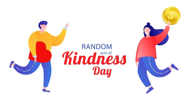 Random acts of kindness day emblem isolated vector illustration