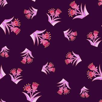 분홍색 밝은 색상의 임의의 벨 꽃 원활한 패턴입니다. 보라색 어두운 배경입니다. 손으로 그린 꽃 프린트. 포장지 및 패브릭 질감을 위한 그래픽 디자인. 벡터 일러스트 레이 션.