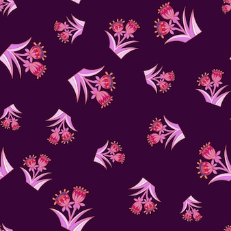 Random bell flower seamless pattern in pink bright colors. purple dark background. hand drawn blossom print. graphic design for wrapping paper and fabric textures. vector illustration.