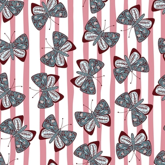 Random blue colored botanic printed butterfly shapes. pink and white striped background. folk design.