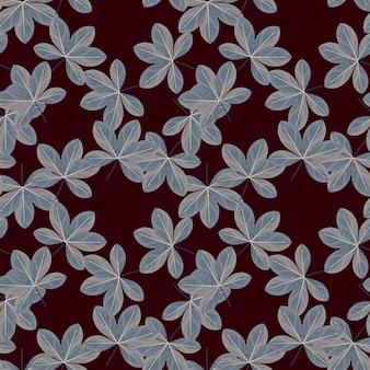ランダムな青い色のシェフラーの花飾りのシームレスなパターン