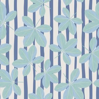 ランダムな青い落書きシェフラーの花のシルエットのシームレス パターン