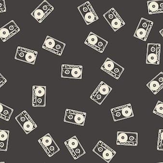 Random cassette pattern, music illustration. creative and luxury cover
