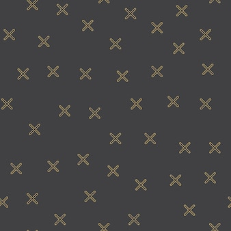 Random crosses pattern in 80s, 90s retro style. abstract geometric background
