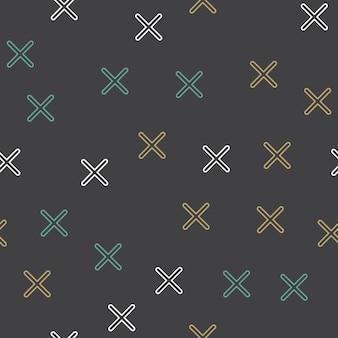 80年代、90年代のレトロなスタイルのランダムクロスパターン。抽象的な幾何学的な背景