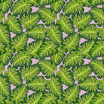 임의의 장식용 녹색 몬스테라는 매끄러운 패턴을 남깁니다. 라일락 배경입니다. 팜 프린트. 직물 디자인, 직물 인쇄, 포장, 덮개를 위한 장식적인 배경입니다. 벡터 일러스트 레이 션.