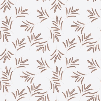 Random decorative seamless pattern with floral minimalistic leaf branches shapes