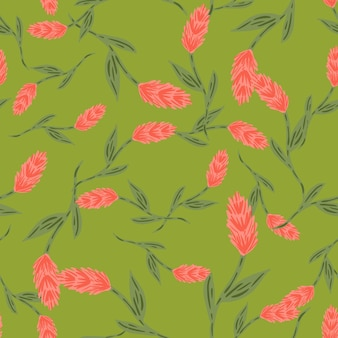 Random decorative seamless pattern with pink ear of wheat elements print. green background. plants print. graphic design for wrapping paper and fabric textures. vector illustration.