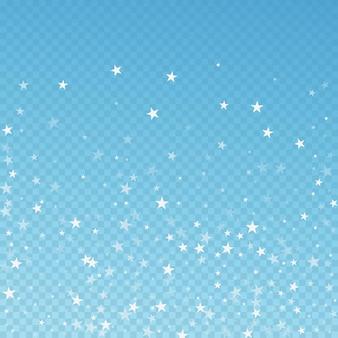 ランダムな流れ星のクリスマスの背景。青の透明な背景に微妙な空飛ぶ雪の結晶と星。愛らしい冬のシルバースノーフレークオーバーレイテンプレート。芸術的なベクトルイラスト。