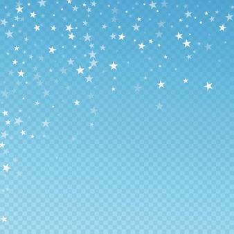 임의의 떨어지는 별 크리스마스 배경입니다. 파란색 투명 배경에 미묘한 비행 눈 조각과 별. 사랑스러운 겨울 은색 눈송이 오버레이 템플릿입니다. 원래 벡터 일러스트 레이 션.