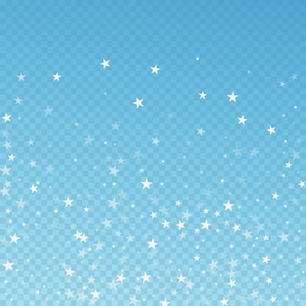 Random falling stars christmas background. subtle flying snow flakes and stars on blue transparent background. adorable winter silver snowflake overlay template. artistic vector illustration.